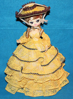Vintage Big Eyed Doll in Yellow Victorian-Style Dress