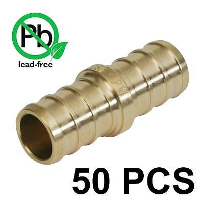 """PEX 1/2 Inch Barb Straight Coupling Crimp Fitting - Bag of 50 / brass / 1/2"""""""