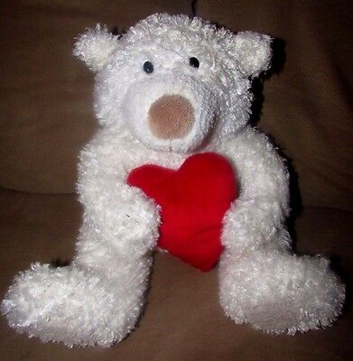 "Hug Me, Squeeze Me, Love Me"" Hallmark Talking White Plush Bear Holding Red Heart"