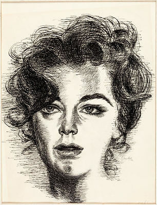 ELIZABETH TAYLOR Illustration Original Art Raphael Ellender