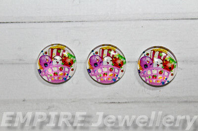 SALE!! 2 x Shopkins #1 12x12mm Glass Cabochons Cameo Dome