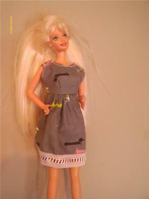 DOLL CLOTHES HANDMADE NEW BARBIE DRESS GRAY WEINER DOG PRINT