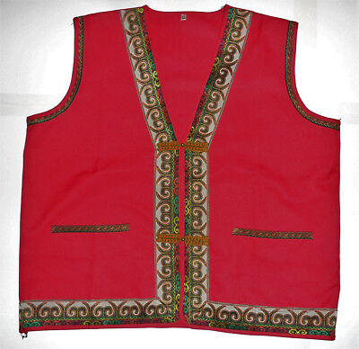 VINTAGE EMBROIDERED INDIAN INDIA PAKISTAN RED Ethnic Bell Buttons VEST Men's L