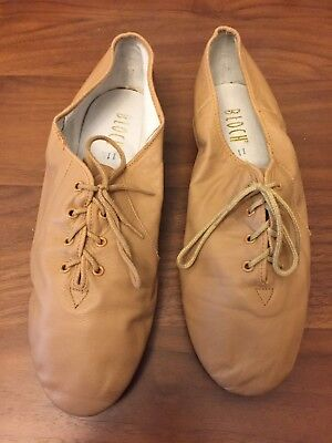 Pre-owned Bloch TAN Hybrid Leather Canvas Split Sole Jazz Shoes Girls Ladies