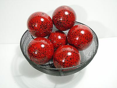 """Ornamental 4"""" Diameter Architectural Decorative Hollow Metal Ball 6pc Lot RED"""