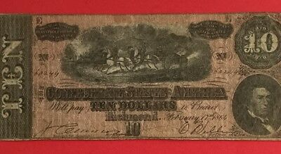 1864 $10 US Confederate States of America! FINE! Old US Paper Money Currency!
