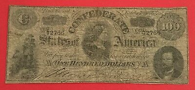 1864 $100 US Confederate States of America! VG! Old US Paper Money Currency!