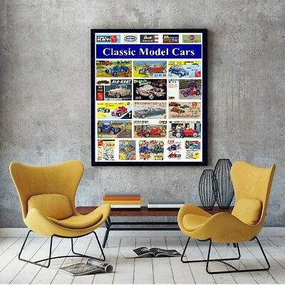 "Large Size 24""x32"" Classic 1960's Model Car Kit Tribute Poster"