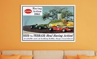 """Large Size 24""""x32"""" Vintage Cox Slot Cars 1965 Poster - Real Road Racing Action"""
