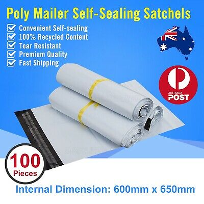 100pcs 600 x 650mm Poly Mailer Plastic Satchel Courier Self Sealing Shipping Bag