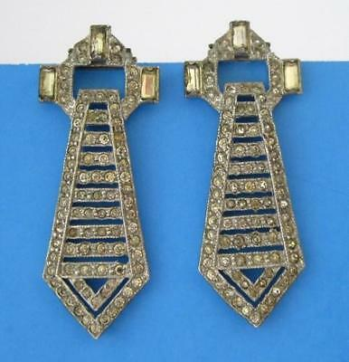 Vintage Art Deco Pair Paste Stone Rhinestone Metal Dress Shoe Flapper Clip Pin