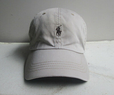 POLO by RALPH LAUREN Khaki HAT CAP Brown pony Leather Strap