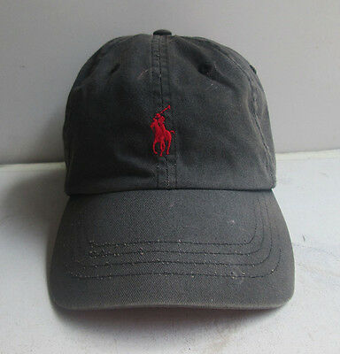 POLO by RALPH LAUREN Black HAT CAP Red Pony Leather Strap