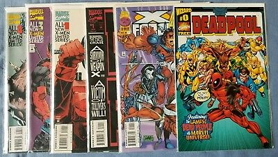 DEADPOOL • 6 comic lot • X-force megazine circle chase limited series wizard 0