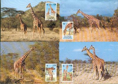 Kenya Michel Nr. 481-484 on 4 MC Giraffe WWF Kenia eg51