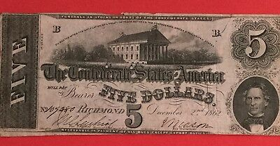 1862 $5 US Confederate States of America! Hard to Find Series! VG! Old Currency!