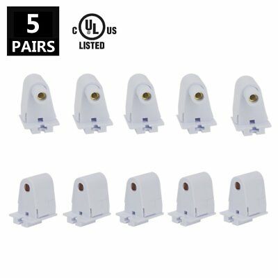 JESLED 5 Pairs T8/T10/T12 Single Pin FA8 Holder Socket Tombstone for 8ft LED UL