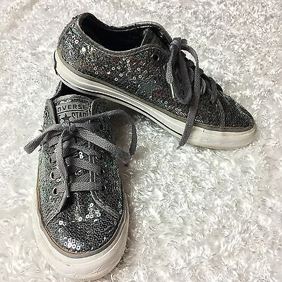 CONVERSE ONE STAR Sz 5.5 LOW TOP SNEAKERS SHOES SILVER SEQUIN  WOMEN'S