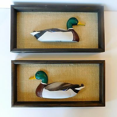 Hand Carved Wooden Ducks By Zack Mallards On Burlap Background Framed Handmade