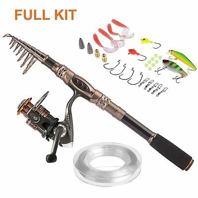 Plusinno TM Spin Spinning Rod and Reel Combos Carbon Telescopic Fishing