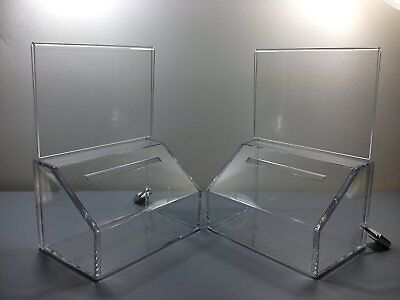 Tz Tagz Brand Small Donation Charity Ballot Box with Lock and Sign Holder 2 PACK
