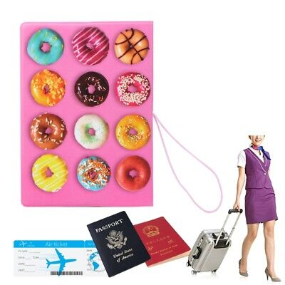 Fashion 3D Passport Holder Donuts Travel Card Case Identity Document Cover
