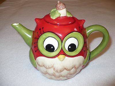 Laurie Furnell Red Ceramic Owl Teapot