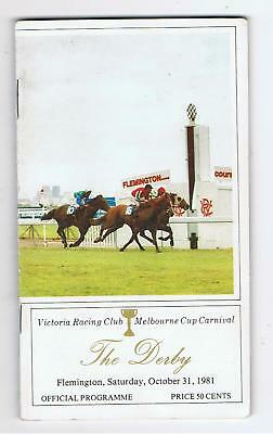 1981 VICTORIA DERBY DAY RACEBOOK. GREAT NAMES INC. GURNERS LANE,KINGSTON TOWN et