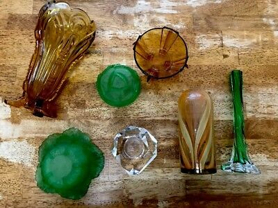 Vintage RARE Art DECO Green Uranium Depression~Glass~Table~Vase Lot Art Glass