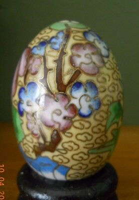 Vintage Chinese Enamel Over Brass Egg Cloisonne, multicolored flower and leaves