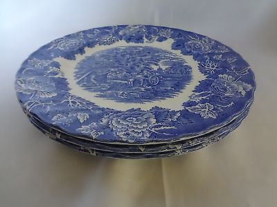 Wood & Sons - English Scenery in Blue - Set of 3 Dinner Plates