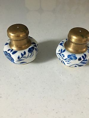 Antique salt and pepper shakers porcelain and brass