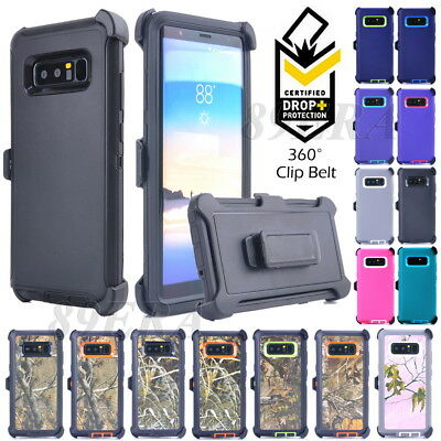 Heavy Duty Hybrid Case Shell+ Tempered Glass, Belt Clip Fit Otterbox For Samsung