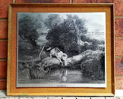Vintage Retro Wall Art Metal Picture Dog Puppy Framed Silver & Black Print Steel