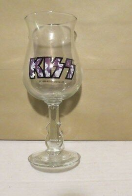 1999 KISS catalog WINE GOBLET with GUITAR SHAPED STEM   ACE GENE PETER PAUL