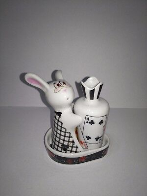 SALT AND PEPPER SHAKERS -  Bunny & Carrot (of hearts) - Ceramic