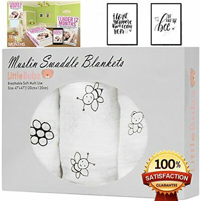 "Muslin Swaddle Blankets Cotton Baby Receiving Blanket Black and White 47"" X 4..."