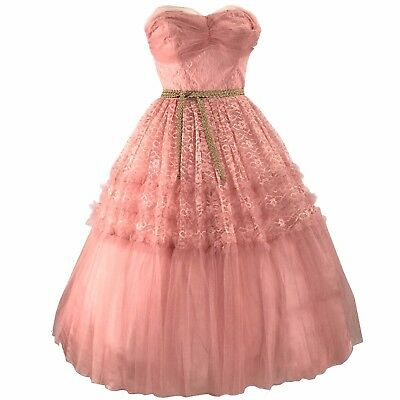 Vintage 1950s Rose Pink Tulle Lace Party Dress - 50s Formal Dress