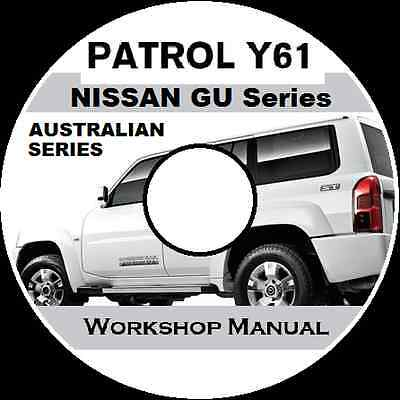 "NISSAN PATROL GU Y61 AUSTRALIAN "" Wagon + Cab-Chassis WORKSHOP REPAIR MANUAL CD"