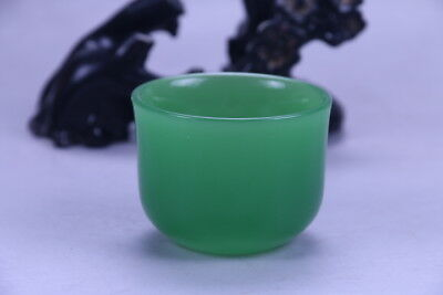 100% natural Exquisite hand carving Light green Jade bowl X163