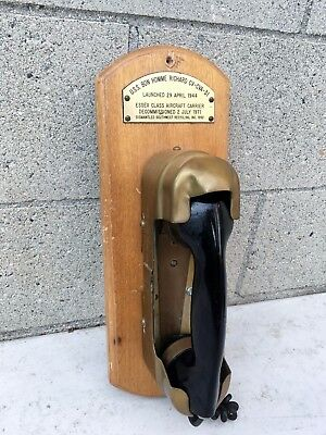 1944 Ship Phone Mounted for Display U.S.S. Bon Homme Richard Aircraft Carrier