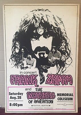 Vintage Frank Zappa and Mothers of Invention Concert Poster 1971 Portland OR