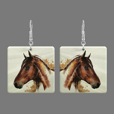Natural Mother of Pearl Shell Horse Earrings Square Drop Jewelry S1706 0068
