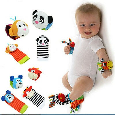 New Baby Foot Socks Wrist Watches Rattles Cute Garden Bug Finders Toys Xmas Gift