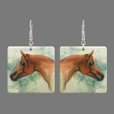 Natural Mother of Pearl Shell Horse Earrings Square Drop Jewelry S1706 0108