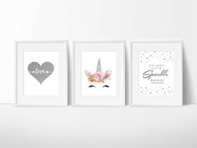 Unicorn Nursery Bedroom Wall Prints, Kids Wall Decor, 3 or 4 Prints your choice