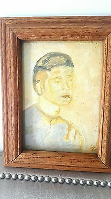 small oil on canvas in glass covered frame young boy portrait