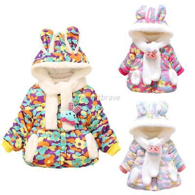 Cute Infant Baby Girl Winter Coat Kid Toddler Cotton Bunny Rabbit Jacket Outwear