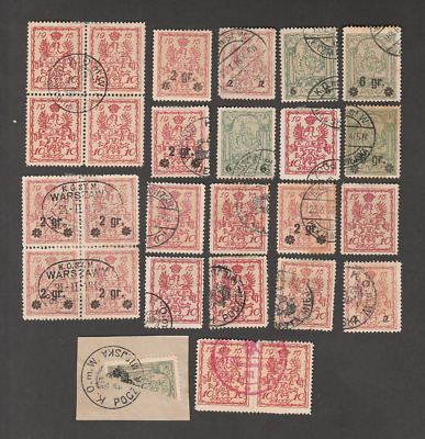 Poland 1915 Warszawa Local Post Lot Of 26 + Bisected Used Stamps
