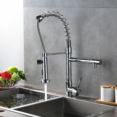 Sink Kitchen Faucet Pull Out Spray Dual Water Style Chrome Brass Hot&Cold Mixer